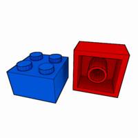 3d piece lego brick 2x2