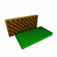 piece lego brick 8x16 obj