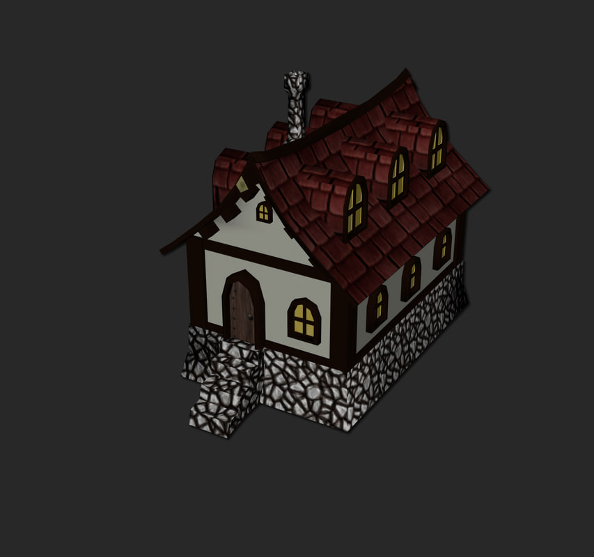 maya medieval fantasy cartoon house