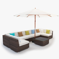 Garden Sectional Rattan Furniture Set with Freestanding Umbrella