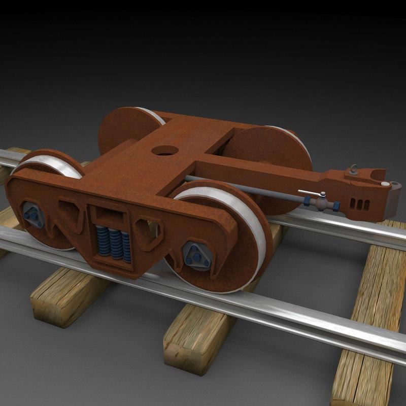 3dsmax rusty train wheel truck