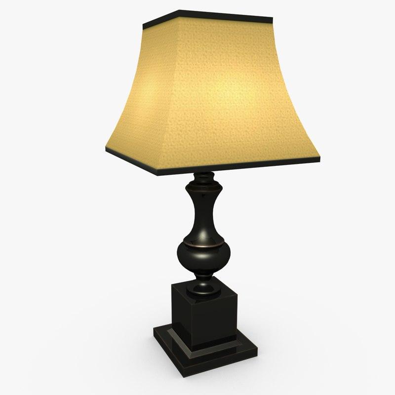 3d black table lamp model