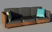 dsmax leather wood sofa