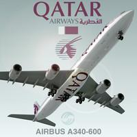 3d airbus a340-600 plane qatar