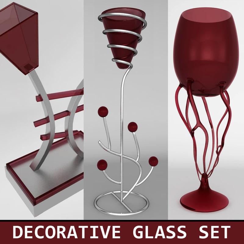 set decorative glasses 3ds