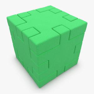 3d model realistic happy cube green