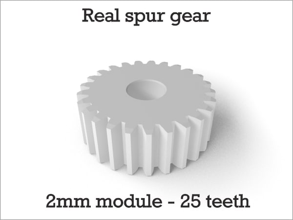 3d model of real spur gear 2mm