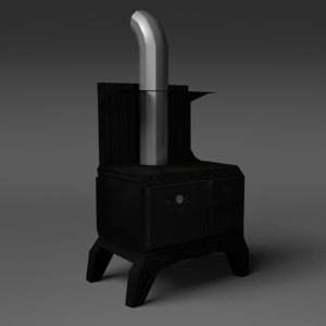 antique stove oven 3d model