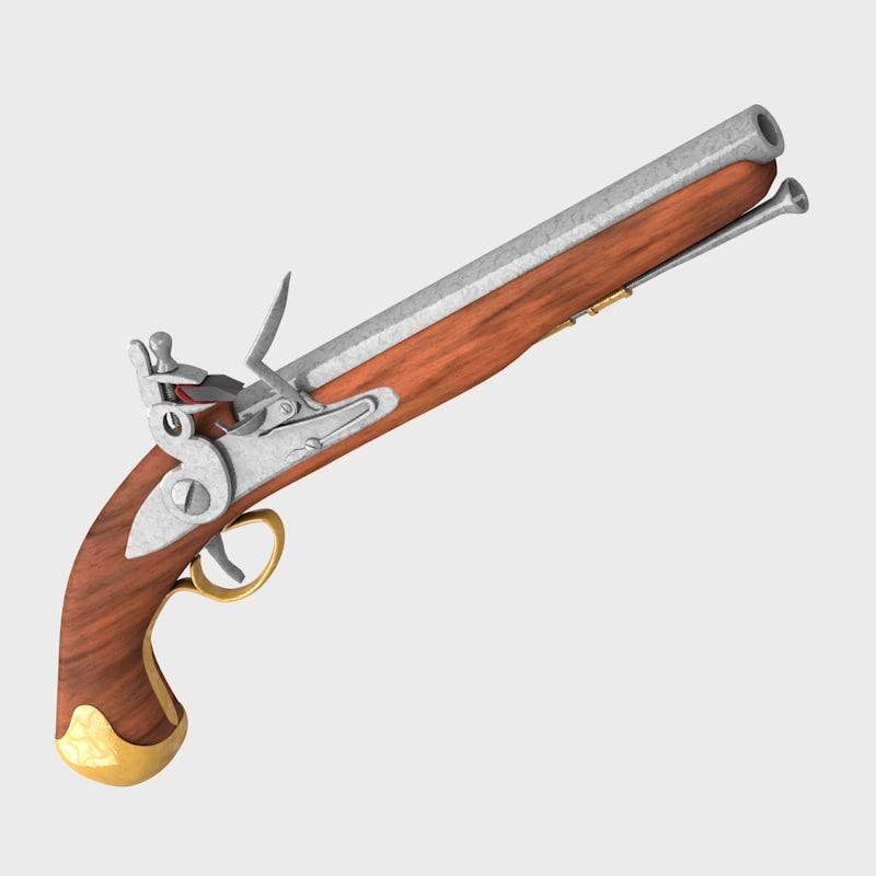 3d antique pistol 1700 guns