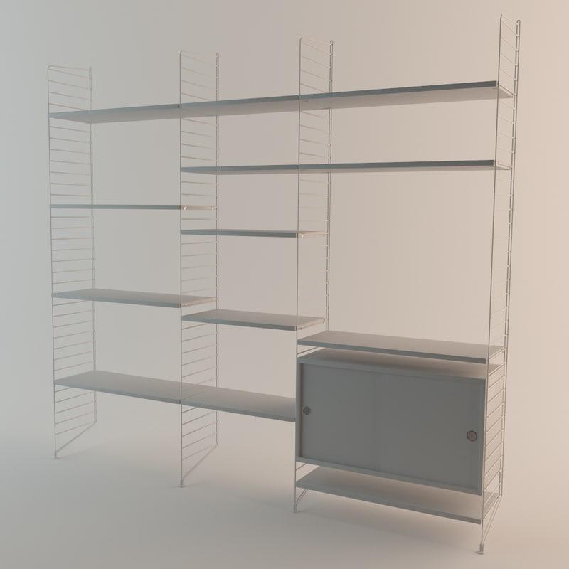 3d string shelf model