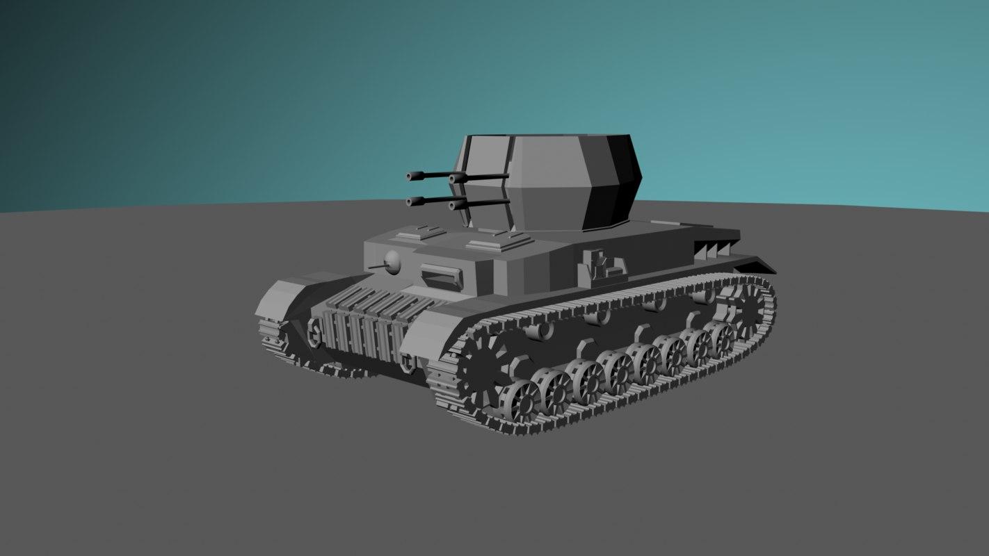 3d model of tank flakpanzer wirbelwind panzer