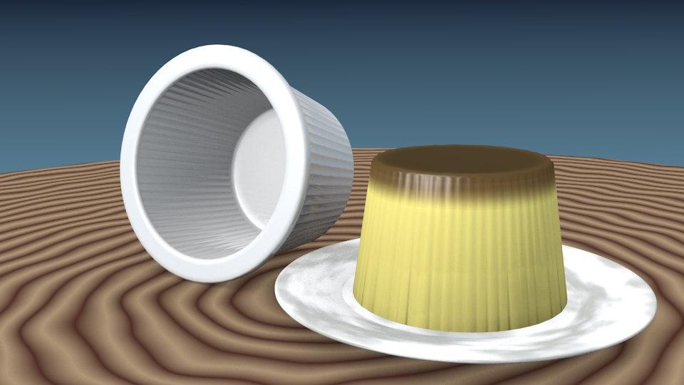 3d flan dessert model