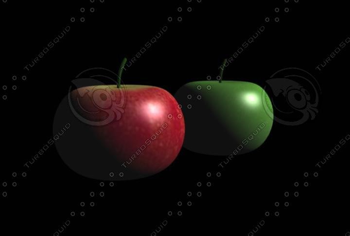 apples red green 3d cob