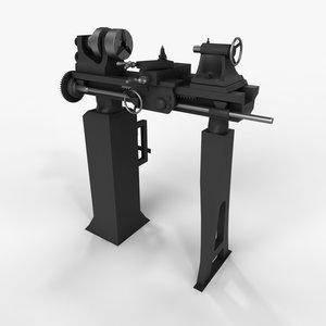 3d model old lathe machine
