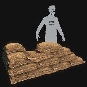 sandbags 3d model