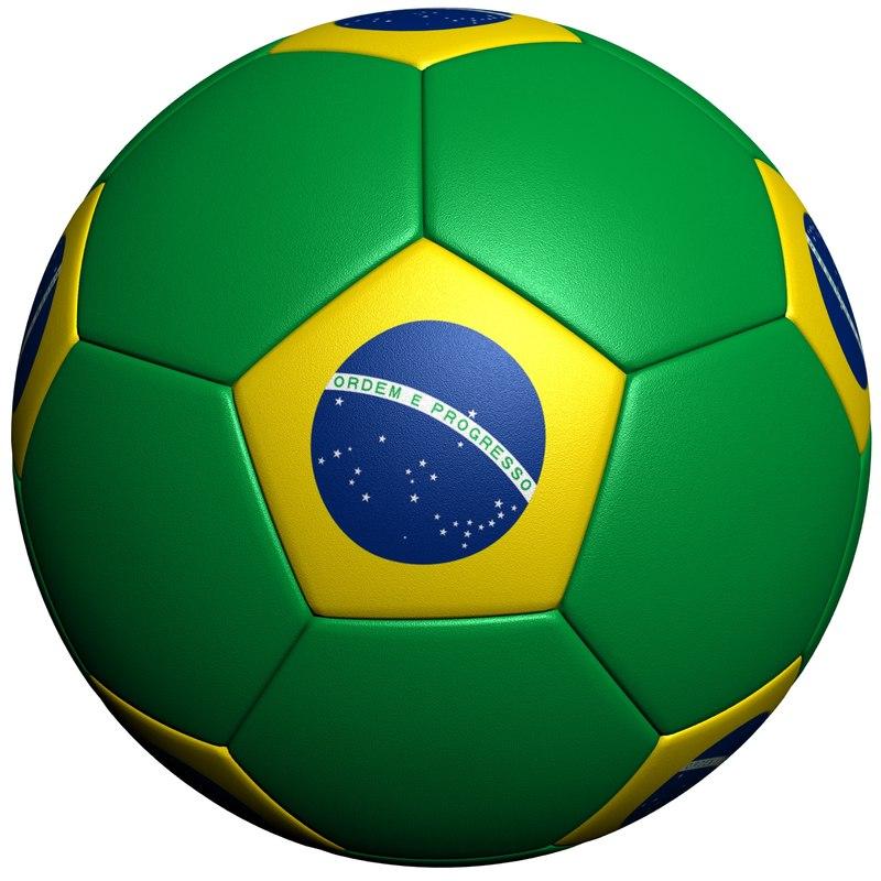 3d model of brazil soccer ball flag
