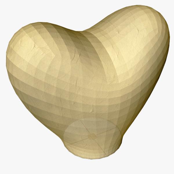 3d heart flying lantern