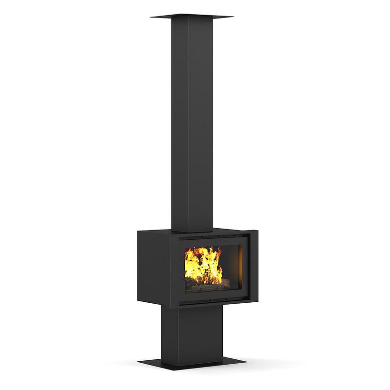 3d standing fireplace model