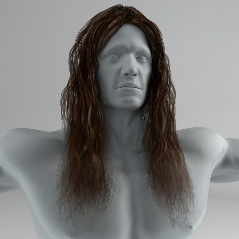 long hair 3d obj