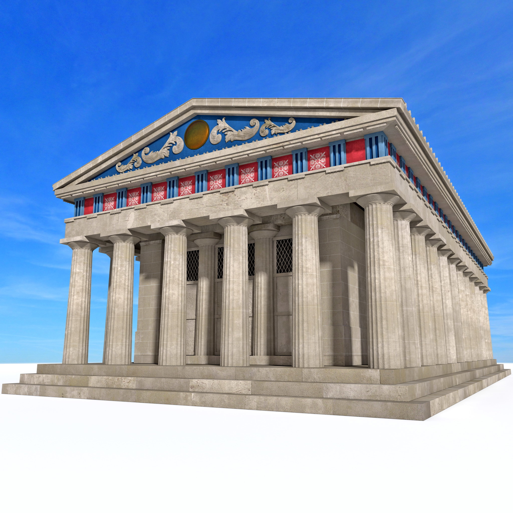 greek temple obj
