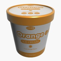 ice cream pot orange 3d model