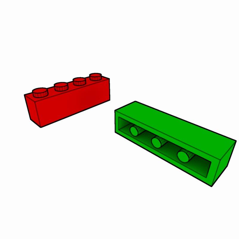 piece lego brick 1x4 3ds