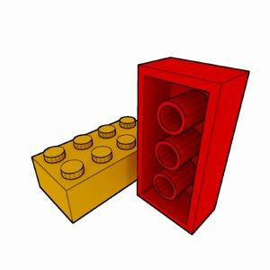 3d model piece lego brick 2x4