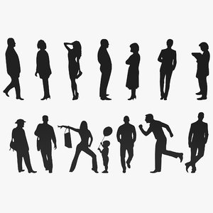 3d people silhouettes