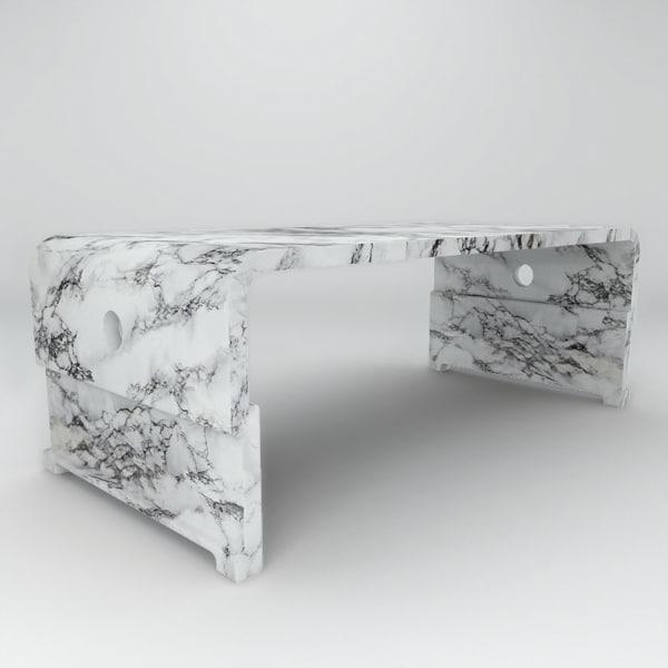 solid granite marble coffee table 3d model