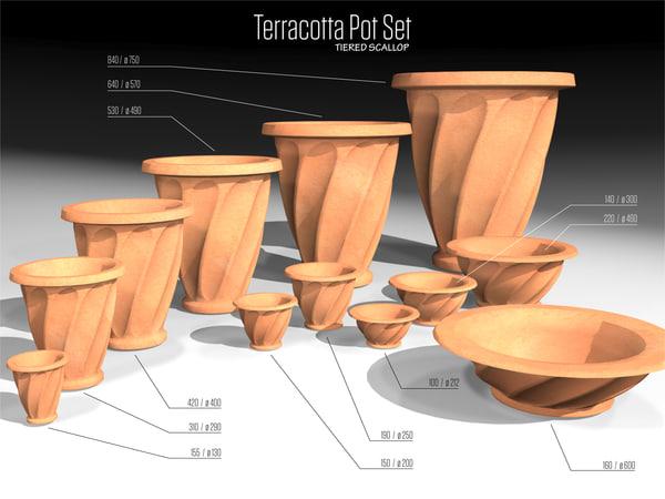 3d tiered scallop terracotta pots model