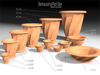 3d tiered scallop terracotta pots model