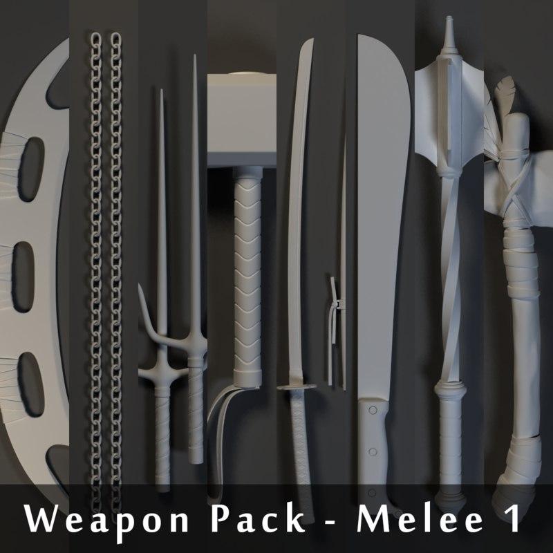 3dsmax weapons pack - melee