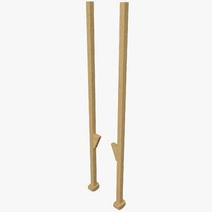 wooden walking stilts 3d model