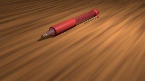 3d red pen model