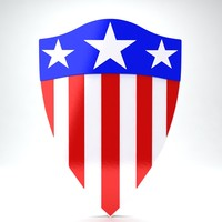 usa flag shield 3d max