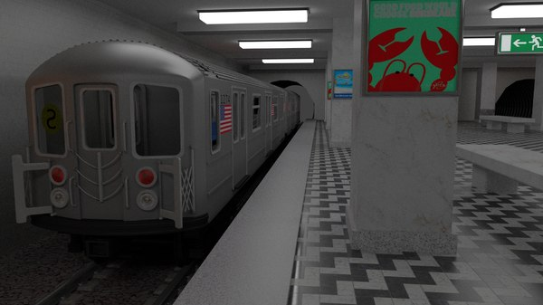 subway station train included 3d obj