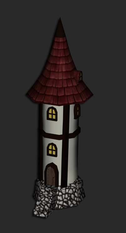 obj medieval fantasy cartoon tower