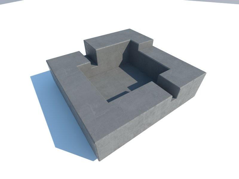 3d concrete ashtray model