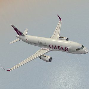 sharkleted airbus a320neo qatar 3d model