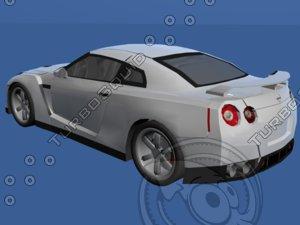 free car nissan gtr 3d model