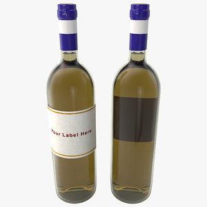 white wine bottle c4d