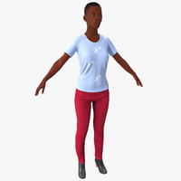young black female casual 3d max