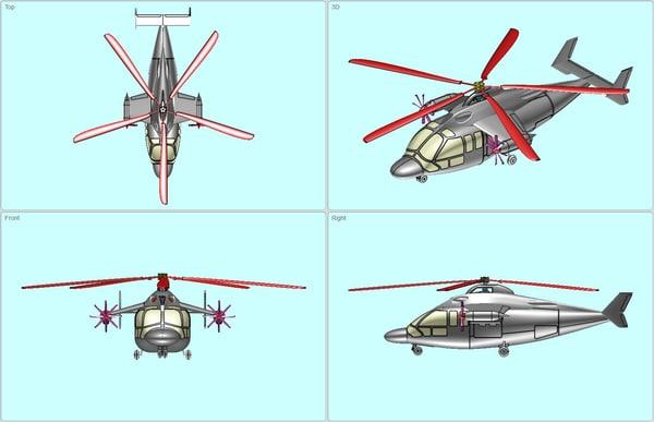 3d model eurocopter hybrid helicopter solid