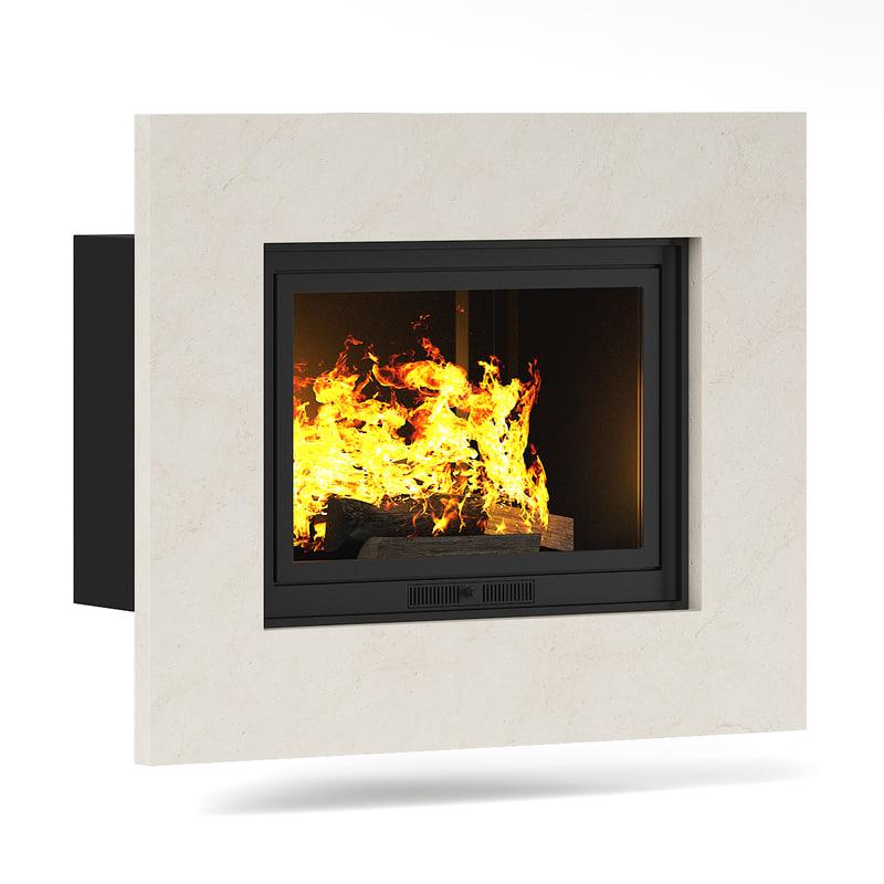 wall fireplae 3d model