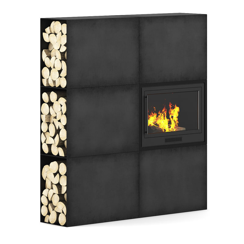 large metal fireplace