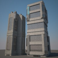 3d futuristic towers mega