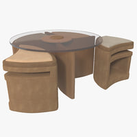 coffee table seating 3d 3ds