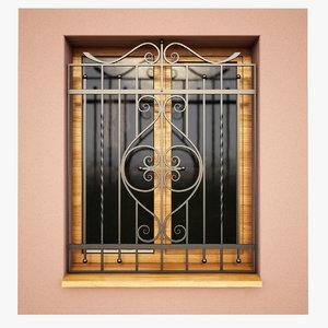 windows security bars 3d model