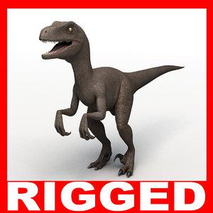 velociraptor dinosaur din00 3d c4d