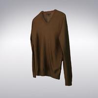 Loose Fit V-Neck Cashmere Sweater Brown - 3D Scanned